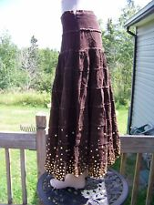 NWT Brown corduroy Long flare Skirt womens size S M L
