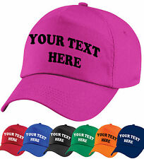 CUSTOM PRINTED PERSONALISED BASEBALL CAP- 8 CAP COLOURS, ANY TEXT, LOGO, EMBLEM