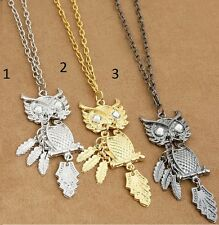 NWT OWL NECKLACES 3 COLORS FEATHER DETAILS RHINESTONE ACCENTS