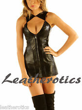 Genuine leather mini dress sleeveless statement top ladies goat nappa skins md79