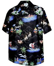 Christmas Santa Claus Hawaiian Shirt, Black