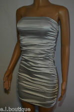 VICKY MARTIN silver satin bodycon strapless tube mini dress 8 10 12 RRP £145!!!!