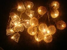 GOLDEN SILVER CHRISTMAS XMAS TREE LIGHTS DECORATION 10 BLUB LIGHTS BELL OR BALL