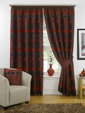 """Red Luxury Chenille Circle Ready Made Fully Lined 3"""" Tape Curtains"""