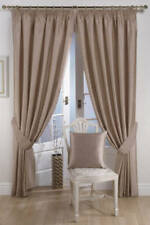 Ravello Faux Silk Ready Made Fully Lined Tape Curtains MINK
