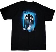 NEW Dr Doctor Who - Knock Knock! Who's There? Tardis Black Tee T-Shirt