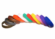 PLAIN SILICONE RUBBER WRISTBANDS PACKS OF 1/5/10/25/50 BANDS ADULT/YOUTH SIZES