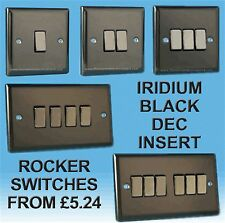 Varilight Iridium Black Rocker Light Switches 1, 2, 3, 4, 6 Gang Dec Inserts