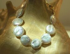 """Color Variety Bead-Nucleated Freshwater Cultured Coin Pearls Bracelet 7.0""""-8.0"""""""