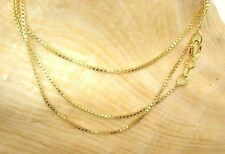 0.9mm Italian 14k Yellow Gold On Solid Sterling Silver Square Box Chain Necklace