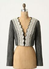 Tabitha Cropped Woolen Doily Lapel Coat Jacket Size 8 NW ANTHROPOLOGIE Tag