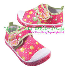 Girls Tennis Shoes Pink Fuschia Lime Yellow Canvas Athletic Sneakers CUTE SALE!