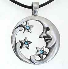 PEWTER Man in MOON Face STARS Pagan AQUAMARINE Crystal MARCH Birthstone Pendant