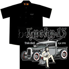 Hot Rod Pickup Truck and Girl Work Shirt, Lucky 13, Miss Lead