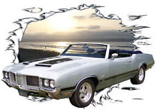 1971 Silver Oldsmobile 442 Convertible HotRod Sun Set T-Shirt 71, Muscle Car Tee