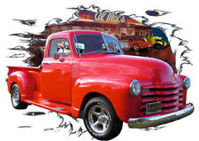1953 Red Chevy Pickup Truck Custom Hot Rod Diner T-Shirt 53,54, Muscle Car Tee's