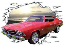 1969 Red Chevy Chevelle SS Custom Hot Rod Sun Set T-Shirt 69, Muscle Car Tee's