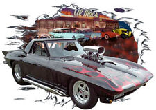 1965 Black Chevy Corvette Blown Custom Hot Rod Diner T-Shirt 65, Muscle Car Tee
