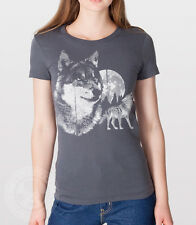 VINTAGE 80'S WOLF truck stop howling wolves American Apparel ladies 2102 T-Shirt