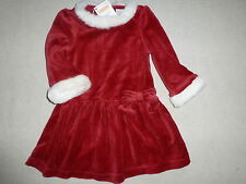 Gymboree SWEET TREATS Red Velour Faux Fur Trim Bow Dress NWT Holiday Winter