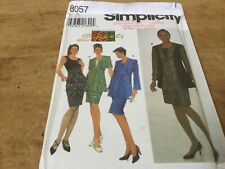 "SIMPLICITY #8057 - LADIES ""SHANTI"" SLEEVELESS DRESS & LONG JACKET PATTERN 8-18uc"