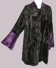 NEW Eaonplus BLACK Purple Trim Stand-Up Collar Longline Velvet Jacket 18 to 36