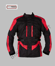 New Black & Red Armoured Waterproof Motorcycle Motorbike Biker Jacket