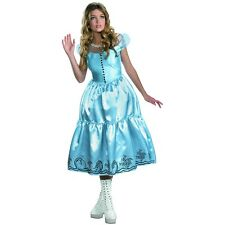 Classic Alice In Wonderland Adult Womens Long Blue Dress Halloween Costume