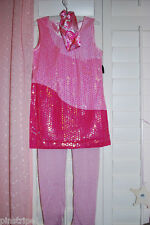 Disney Store Hannah Montana Costume Outfit Concert Dress Pink Sequined 3 PC
