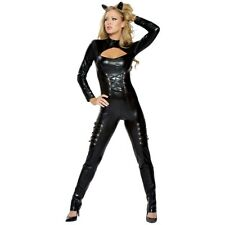 Cat Woman Costume Adult Sexy Black Cat Suit Halloween Fancy Dress