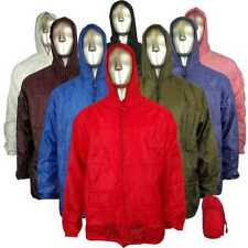 Mens Ladies Womens Unisex Hooded Kagool Kagoul Cagoule Rain Jacket Raincoats