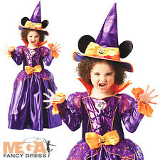 Minnie Mouse Witch Halloween Fancy Dress Girls Kids Disney Costume Age 3-8 Years