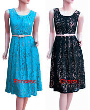 Vintage Style Cocktail Evening Dress Black Blue Lace Size 22 20 18 16 14 12 10