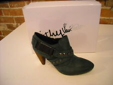 Kathy Van Zeeland Julian Washed Blue Studded Belted Bootie Ankle Shoes