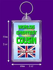 British Flag Worlds Greatest Keyring - Range Auntie to Wife, I Love Britain Gift