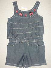 Gymboree POLKA DOT LADYBUG Blue Chambray Gem Flower Ruffle Short Romper 1 pc NWT