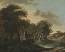 View Near Arundel Sussex With Ruins By Water George Smith Mid--18th Century- Art