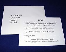 Personalised A7 RSVP Cards And Pre Addressed Envelopes Wedding Reception
