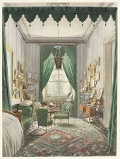 Interior With Curtained Bed Alcove 1853-Art Photo/Poster Repro Print Gifts