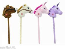 CHILDRENS HOBBY HORSE HORSES TOY UNICORN x1 WITH SOUND BROWN WHITE PINK PURPLE