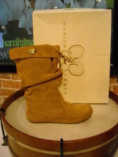 Mariah Carey Tan Suede Moccasin Slouchy Boots NEW