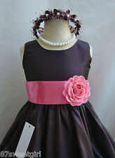 NWT PO1 BROWN / WATERMELON DAVIDS WEDDING CHRISTMAS PAGEANT FLOWER GIRL DRESS
