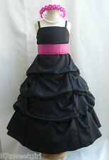 SPU BLACK FUCHSIA PINK WEDDING RECITAL BIRTHDAY GOWN PAGEANT FLOWER GIRL DRESS