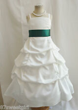 SPU IVORY / HUNTER GREEN WEDDING PARTY RECITAL GOWN PAGEANT FLOWER GIRL DRESS