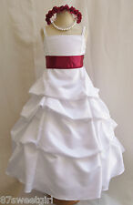SPU WHITE / APPLE RED WEDDING PARTY RECITAL GOWN PAGEANT FLOWER GIRL DRESS