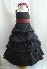 SPU BLACK BURGUNDY WEDDING PARTY RECITAL GOWN PAGEANT FLOWER GIRL DRESS