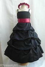 SPU BLACK APPLE RED MAUVE WEDDING PARTY PRINCESS GOWN PAGEANT FLOWER GIRL DRESS