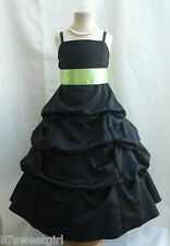 SPU BLACK APPLE GREEN WEDDING RECITAL BIRTHDAY GOWN PAGEANT FLOWER GIRL DRESS