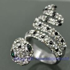 Size 6,7,8,9 Ring,REAL CRYSTAL GEMSTONE SNAKE 18K WHITE GOLD GP SOLID FILL 0500r