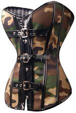 Gothic Green Camouflage CORSET Bustier Size S-2XL Bustier Costume top AF A2800